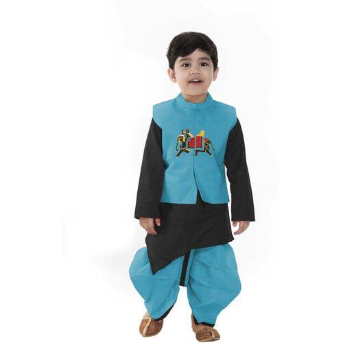 SmartRAHO Boys Festive & Party Ethnic Jacket, Kurta and Pallazo Set(Light Blue Pack of 1)