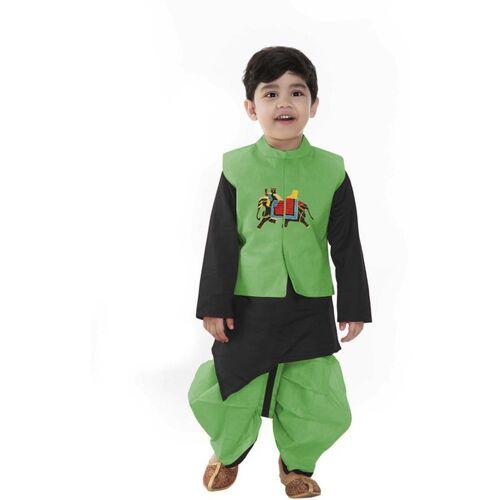 SmartRAHO Boys Festive & Party Ethnic Jacket, Kurta and Pallazo Set(Green Pack of 1)