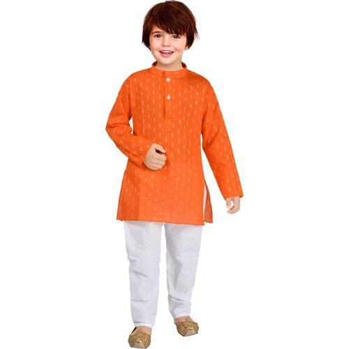 UBFASHIONS Boys Festive & Party Kurta and Pyjama Set(Orange Pack of 1)