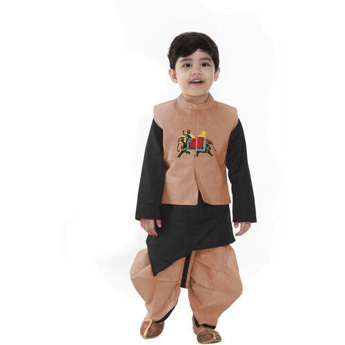 SmartRAHO Boys Festive & Party Ethnic Jacket, Kurta and Pallazo Set(Orange Pack of 1)