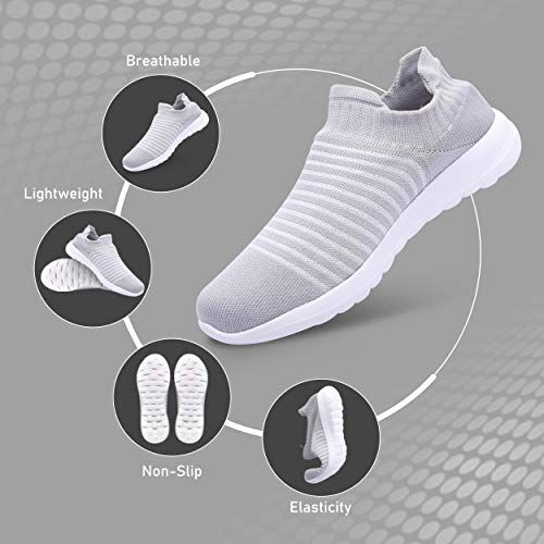 Zero Enjoy Lightweight Shoes Fashionable Breathable and Non-Slip Walking Shoes for Women (Light Grey)