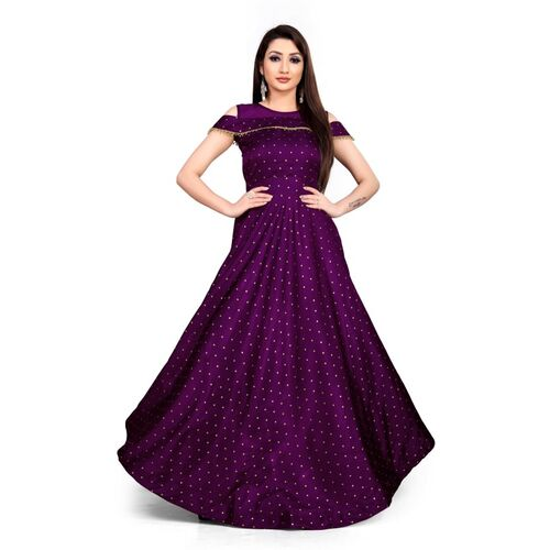 Bolly Lounge Purple Silk Cold Shoulder Semi-Stitched Flared Gown