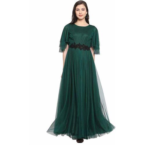 rebikatrendz Green Solid Net Maxi Anarkali Gown