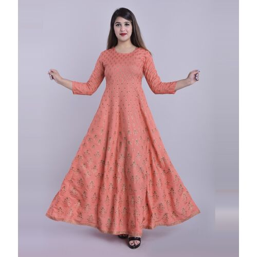 ftDiva Pink Rayon Printed Stitched Long Anarkali Gown