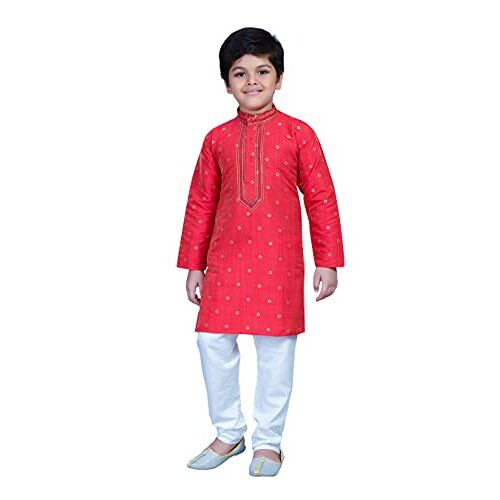 Baba & Baby Kids Cotton Silk Blend Boys Kurta Pyjama Set