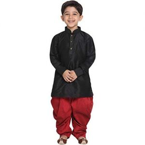 Champion JBN Creation Boys' Cotton Silk Pathani Style Kurta and Cowl Style Patiala Dhoti Pant Set