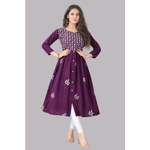 Mahi Fashion Purple Rayon Mint Women Embroidered Flared Kurta