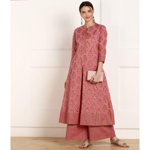 mokshi Pink Cotton Mandarin Neck Women Kurta and Palazzo Set