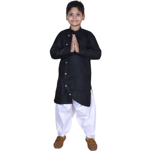 Step Shoes Boys Festive & Party Dhoti & Kurta Set(Black Pack of 1)