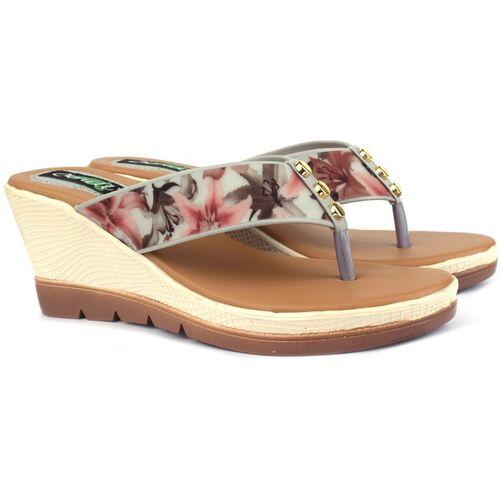 Denill Beige Synthetic Floral Women Heels