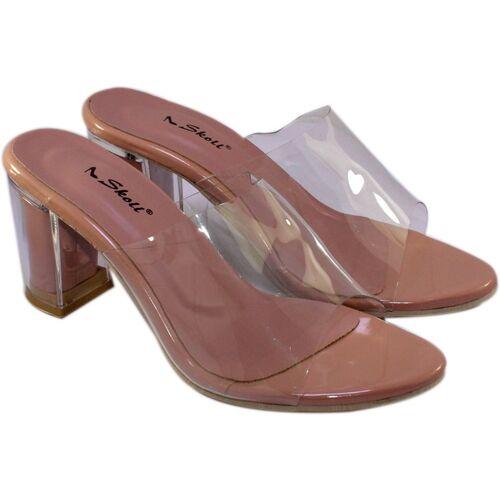 SKOLL Pink Synthetic Transparent Women Heels Chappals