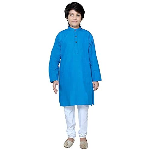 Baba & Baby Boys Traditional Ethnic Wear Handloom Cotton Kurta with White Pyjama Set