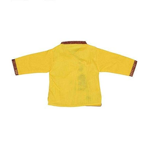 PK HUB Kids Cotton Yellow Krishna Style Kurta & Dhoti Dress (Pack Of 5-Kurta,Dhoti,Bansuri,Mukut,Patka)
