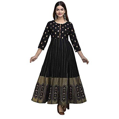 SHIRTWALAS Black Rayon Jaipuri Rajasthani Kurti with Plazzo for Women