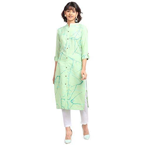 NAINVISH Cotton Light Green Printed Straight Kurti with Pant (SD098)