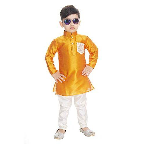 NEW GEN Boom Boys Full Sleeve Pocket Kurta & Paijama Pant_300_Orange Pocket