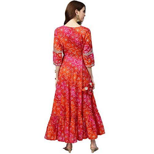 rytras Women's Cotton Printed Anarkali Embroidery Kurti(Red & Orange)