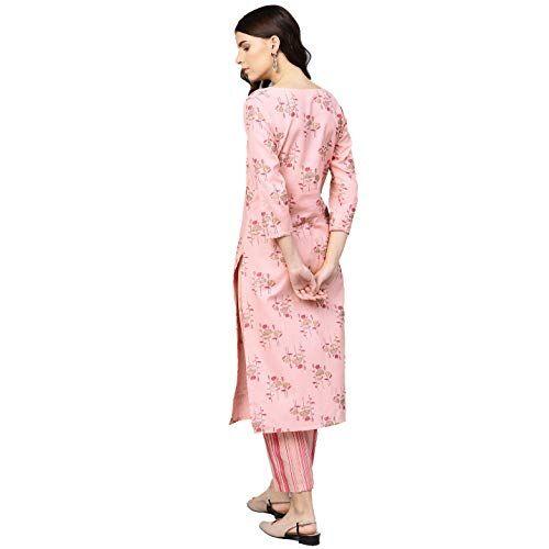 Arayna Pink Rayon Floral Printed Round Neck Kurta Palazzo Set