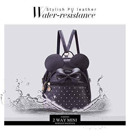 Alice Fashion Women round Ear Backpack Waterproof Anti-theft Lightweight PU Leather Shoulder Diagonal Bag Travel Ladies Purse(blk)