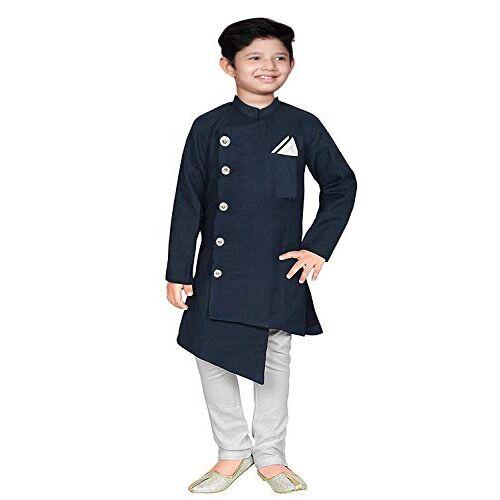 Feliz the designer studio Boy's Cotton Kurta Pyjama Set (Blue,1-16 YEARS)