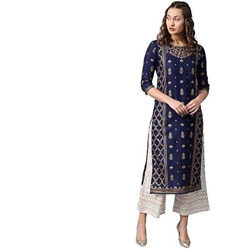Radhika Fashion Womens Rayon Printed Kurta with Palazzo Set, Navy Blue