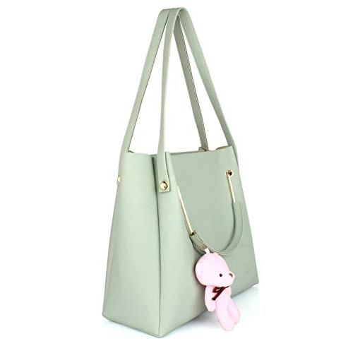Mammon Green Polyurethane Solid Handbag Set
