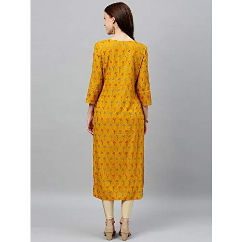 KIPEK Women's Rayon Leaf Printed Straight Kurta (Mustard)