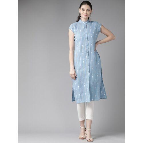 See Designs Cotton Blue Printed Short Sleeve Calf Length Straight Kurta