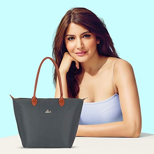 Lavie Buyo Grey Polyester Solid Tote Bag