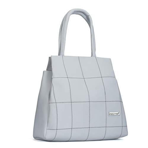 Fristo White Polyurethane Alia Handbag (FRBN-017)