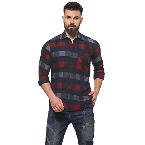 Campus Sutra Pure Cotton Curved Hemline with Checkered Casual Shirt - for Men