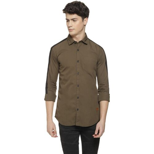 CAMPUS SUTRA Men Solid Casual Green Shirt