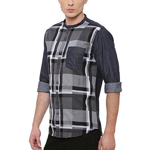 Campus Sutra Men's Mandarin Neck Casual Shirt