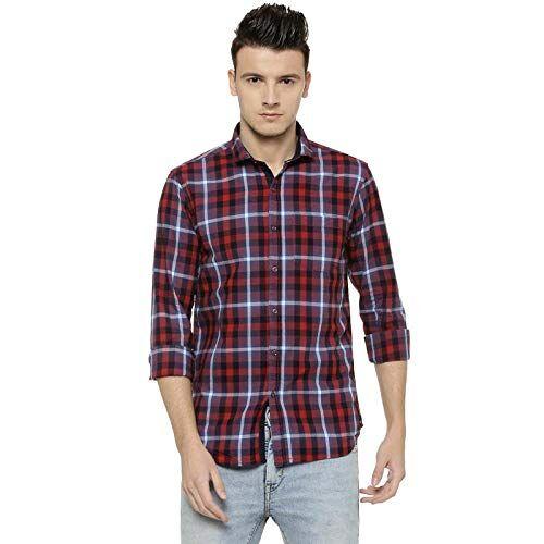 Campus Sutra Men's Checkered Regular Fit Casual Shirt (AZ18SHRT_PNCHK27_M_PLN_AZ_Maroon_M)
