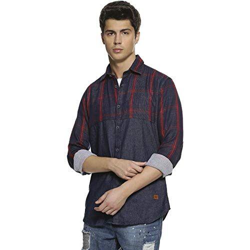 Campus Sutra Men Denim Spray Casual Shirt
