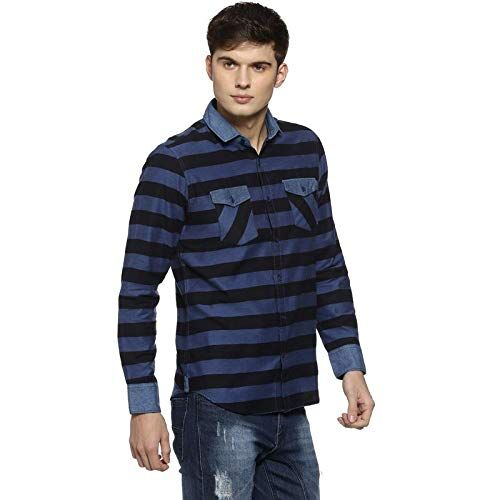 Campus Sutra Men Striped Casual Shirt