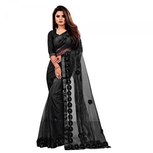 Indian Youth Women's Woven Net Saree With Unstitched Blouse Piece