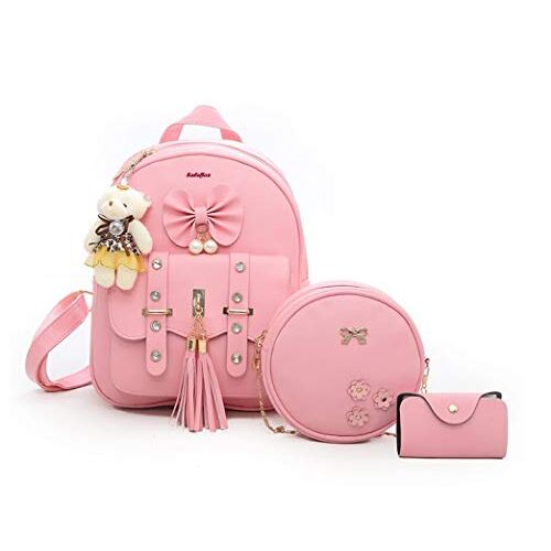 SaleBox Fashion Girls 3-PCS Fashion Cute Stylish Leather Backpack & Sling Bag Set for Women, School & College Girls/Leather Bagpack Set for Women Ideal for All Age Group