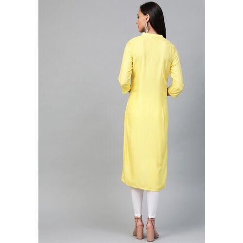 AURELIA Women Yellow & Grey Striped Straight Kurta