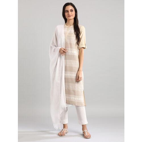 Aurelia Beige Cotton Woven Pattern Straight Kurta