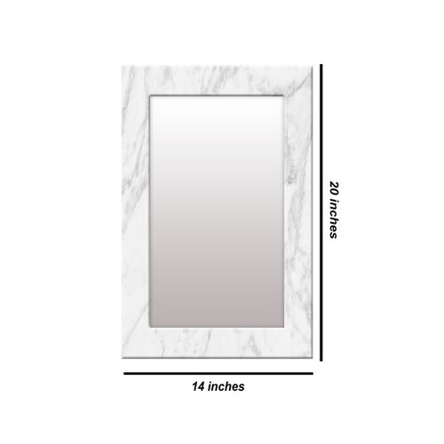 999Store White Printed MDF Wall Mirror