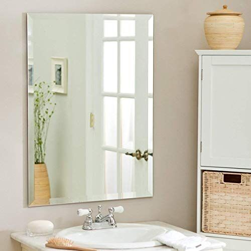 Reflectionz Frameless Rectangle Decorative Mirror | Mirror Glass for Wall | Mirror for Bathrooms | Mirror in Home | Mirror Decor | Mirror Size : 18 inch X 24