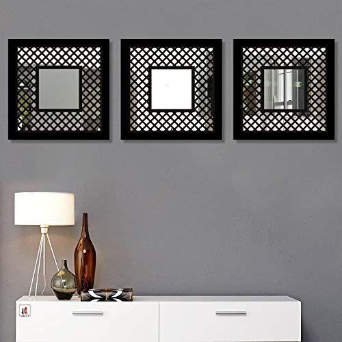 Art Street Decorative Wall Mirror Block Design Black Set of 3 Square Shape Mirror for Home Decoration & Wall Decoration