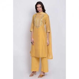 BIBA Yellow Silk Straight Salwar Suit Set