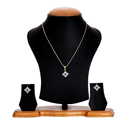 Zeneme American Diamond Necklace Set with Earrings, Bracelet and Ring Jewellery for Women