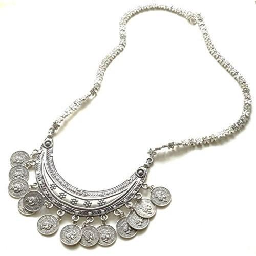 Sansar India Silver Oxidized Coins Tassel Pendant Long Necklace
