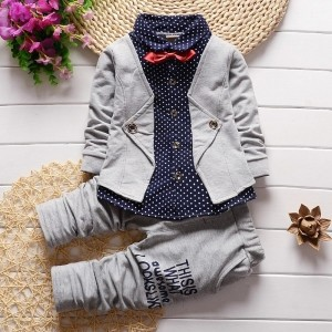 YXN  Gray Smarty Shirt With Jacket, Bow And Pant Set