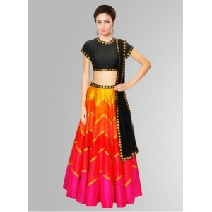 Fabboom Black ,Orange & Pink Bangalore Silk Colourfull & Attractive Navratri Special Lehenga Choli