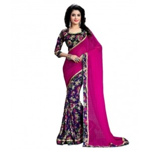 Oomph! Pink Chiffon Half & Half Saree For Women