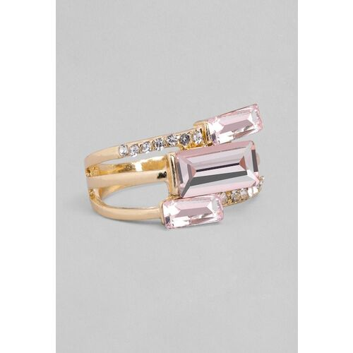 TOKYO TALKIES X rubans FASHION ACCESSORIES Women Gold-Plated Pink Stone Finger Ring